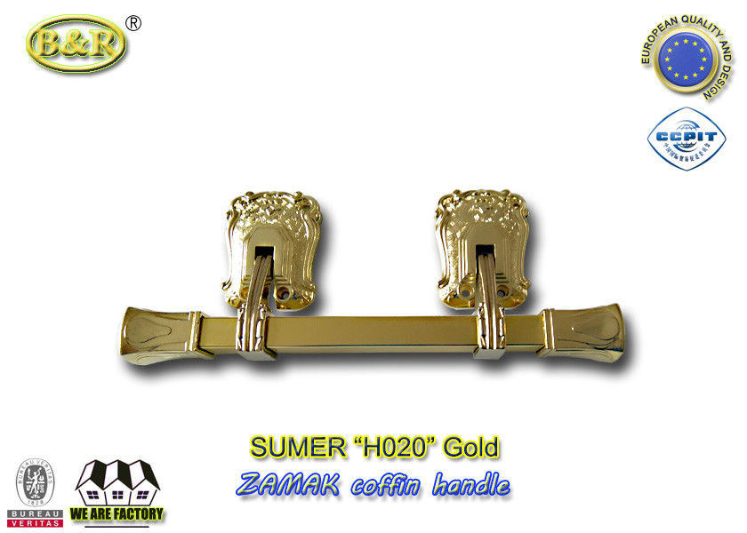 Italy style zamak metal casket coffin swing bar H020 zamak handle size 31.5*12cm polished and plating